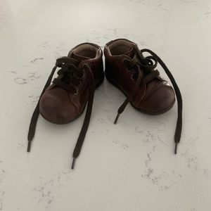 Brown leather baby boy shoes